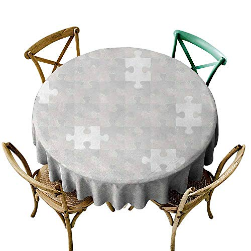 Zmlove Grey Camping Picnic Round Tablecloth Abstract Puzzle Patterns in Simple Background Shabby Mosaic Ornament Idea Kids Home Decor Table Decoration Gray (Round - 71