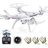 AURELIO TECH X5SW Syma V3 Fpv Explorers2 2.4Ghz 4CH 6-Axis Gyro RC Headless Quadcopter Drone Ufo with HD Wifi Camera Bonus Batteries