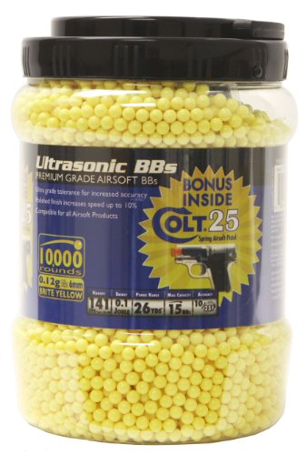 Soft Air Ultrasonic 10,000ct Yellow BB Jar with Free Clear Colt .25 Spring Pistol