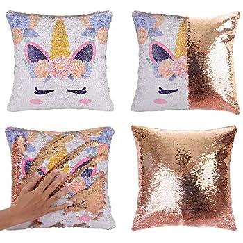 Merrycolor Unicorn Sequin Throw Pillow Cover Mermaid Magic Reversible Pillowcase Decorative Cushion Cover Unicorn Gift for Girls (Unicorn E -Gold ...