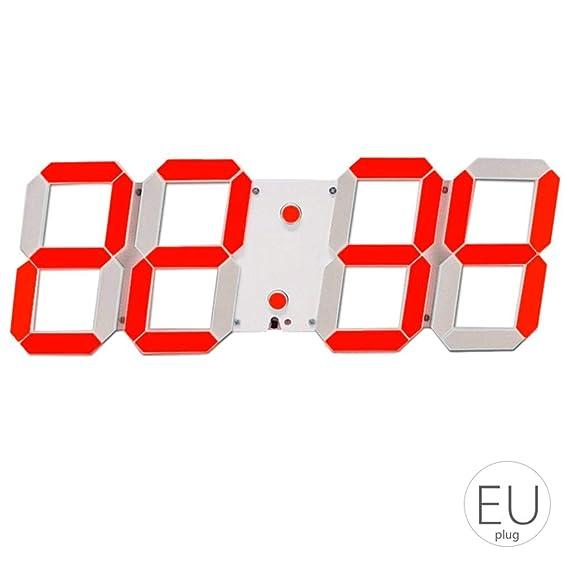 El LED de Alarma Esqueleto Hueco del Reloj de Pared de múltiples Funciones de Temporizador Pantalla 24/12 Horas Reloj electrónico Digital con Control Remoto ...