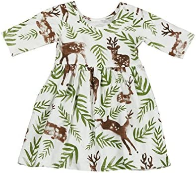 ZLOLIA Baby Clothes Autumn Toddler Girl Floral Deer Princess Pageant ...