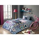Tac Hello Blue Ranforce %100 Cotton Fabric First Class Workmenship Kid's Duvet/Quilt Cover Set Single / Twin Size Kids Bedding