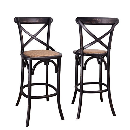 Rattan Vintage (Adeco Dark Brown Elm Wood Rattan Vintage-Style Curved Leg Barstool/Dining Chair, 43 inches high (Set of ONE))