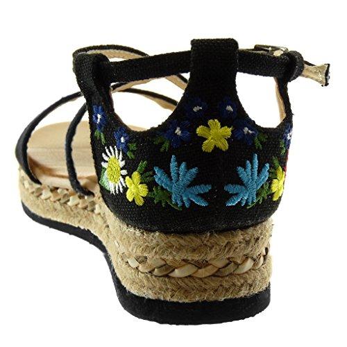 5 De Tobillo Correas Correa Negro Plataforma Angkorly 3 Mujer Flores Moda Cruzadas Bordado Sandalias Alpargatas Zapatillas Cm wnxFBqf