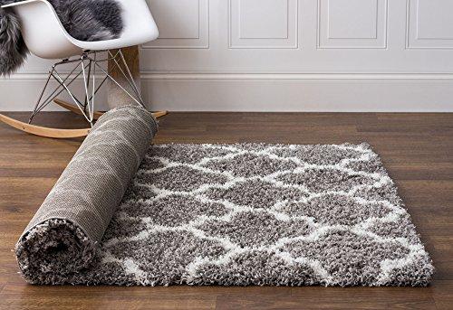"Soft & Plush Geometric Trellis Large Shag Rug for Bedroom | Living Room | Dining Room 7' 10\"" x 9' 10\"", Gray & White"