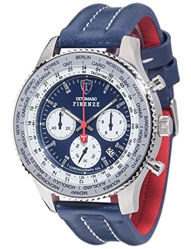 DETOMASO Men's Quartz Stainless Steel and Leather Casual Watch, Color:Blue (Model: DT1045-G)