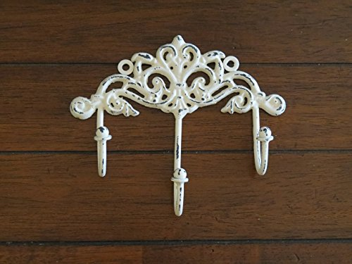 Shabby Chic Wall Hook/ Cottage Chic Hook/Key Hanger/ Creamy White or Pick Your Color / Key Hook Rack/ French Cottage/ Towel Hook