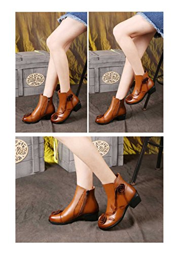Women's Shoes Yellow UPSUN Ethnic Leather Bootie Boots High Pattern Genuine Warm Ankle HBOqPBdWC