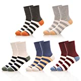 NOVCO Kids Little Boys Girls Colorful Stripes Cotton Athletic Socks 5 Pairs (Stripe 1, 3-5 Years)