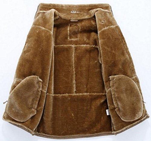Peau Chaud Overcoat Parka Cuir Veste Fourrure En Classique Vintage Fr1601 Épais Jacket Hommes Long Hiver Kaki Leather Faux De Fur Mouton Manteau Jiinn Suède C0qwp4q
