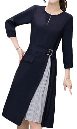 (イレリル)ワンピースプリーツスリットフォーマルドレス紺長袖ひざ丈レディースお呼ばれ(4:XLサイズ)