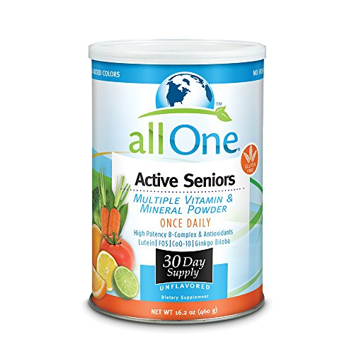 allOne Multiple Vitamin & Mineral Powder, For Active Seniors | Once Daily Multivitamin, Mineral & Amino Acid Supplement w/ 4g Protein | 30 Servings