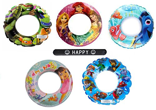 Set of 5 Finding Dory Ninja Turtles Disney Princess Dora Paw Patrol Disney Nickelodeon Character Pool Toys Inflatable Swim Ring Tube Toy for Kids Boys Girls SET OF 5 RINGS with HAPPY (Disney Costume Ideas For Teenagers)