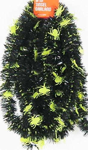 Halloween Black Garland with Spiders-15 Feet (Spider Garland)