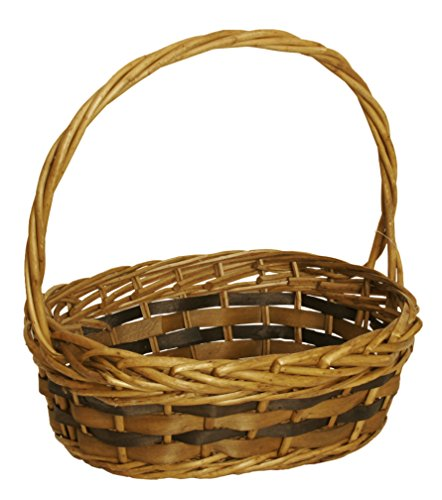 Wald Imports Brown Willow & Woodchip Decorative Storage Basket For Sale