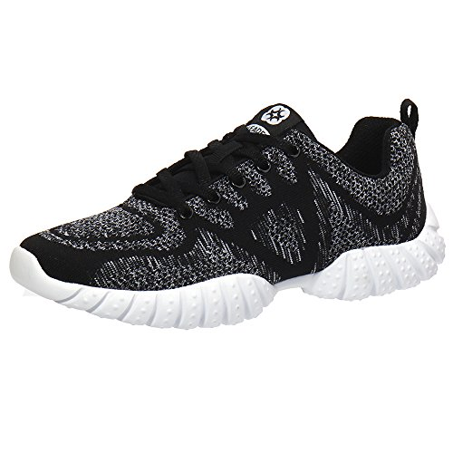 ALEADER Womens Lightweight Mesh Sport Running Shoes Knit/Black/Gray 312wRXUp4l