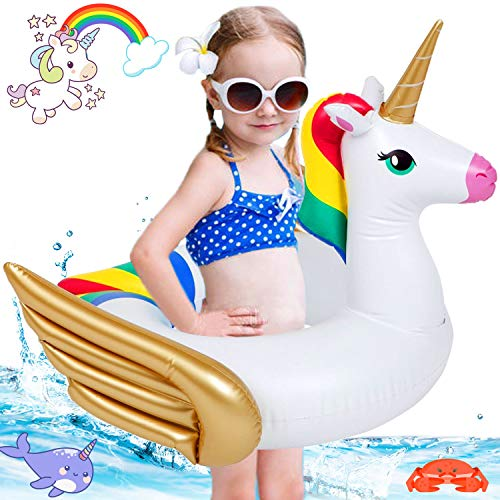Dreamoo Unicorn Pool Floats for Kids, Thicken PVC Swimming Pool Float Ring for 3-6 Years OId Baby Boys Girls with Double Airbag Water Fun Summer Indoor Outdoor Beach Pool Toys