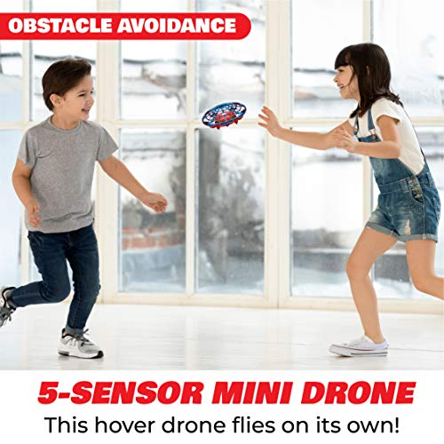 Force1 Scoot Combo Hand Operated Drone for Kids or Adults - Hands Free Motion Sensor Mini Drone, Easy Indoor Small UFO Toy Flying Ball Drone Toys for Boys and Girls (Red/Blue)