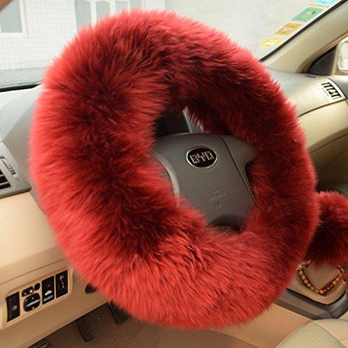 Sino Banyan Sheepskin Vehicle Steering Wheel Cover,3Pcs,14.96