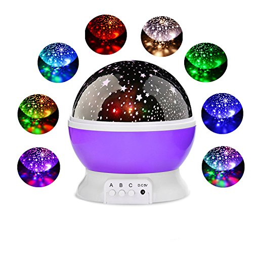 Night Lighting Lamp,Star Light Rotating Projector,360 Degree Romantic Rotating Cosmos Star Projector 4 LED Bulbs 9 Modes for Children Kids Bedroom,The best gift for friends and family (purple)
