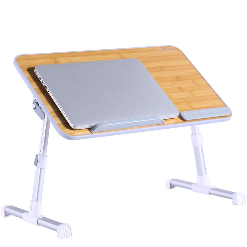 Portable Laptop Table by Superjare | Foldable & Durable Design Stand Desk | Adjustable Angle & Height for Bed Couch Floor | Notebook Holder | Breakfast Tray - Bamboo Wood Grain