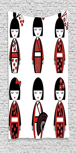 Cotton Microfiber Bathroom Towels Ultra Soft Hotel SPA Beach Pool Bath Towel Girly Collection Unique Japanese Geisha Dolls in Folkloric Costumes Outfits and Hair Sticks Kimono Art Image Black