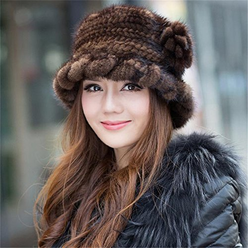 SPRINGWIND Real Mink Fur Hat Knitted Womens Winter Cap by SPRINGWIND (Image #3)