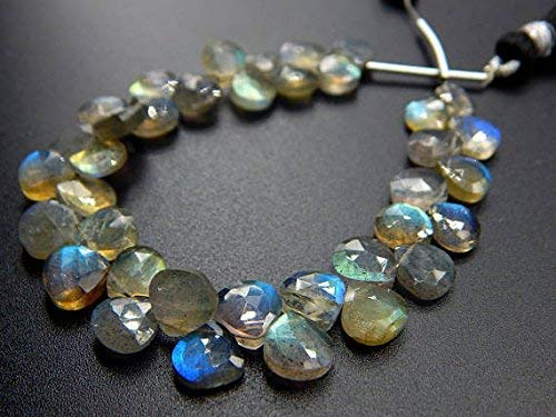 - Labradorite Faceted Teardrop Beads Heart Shape Briolettes Size 7.mm Approx 6