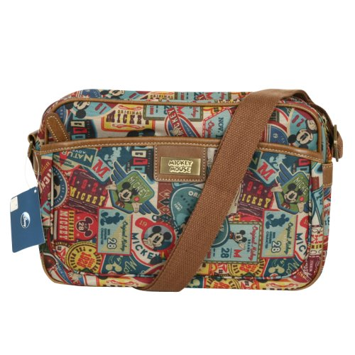 Disney Mickey Label Pattern Canvas Mini Shoulder Bag Retro Messenger Bag 014 Disney Messenger