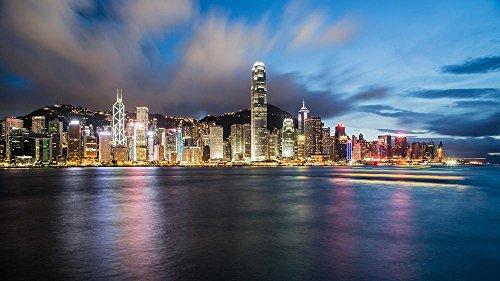 LAMINATED 36x24 inches POSTER: Hong Kong China Night Cityscape Coastline Coast Ocean Panorama Panoramic Sunset Skyscraper (China Art Hong Kong)