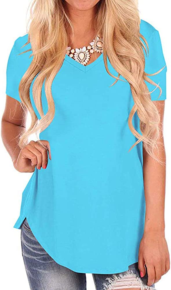 WFTBDREAM Womens Casual Curved Hem Long Sleeve T Shirt V Neck Side Slit Blouse