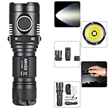 Nitecore Tactical Flashlight, MYBDJ Nitecore MH20 LED USB Intelligent Charging Rechargeable Flashlight Long Light Shot Tactical Portable Waterproof Torch Lamp Portable Waterproof For Outdoor Hunting Camping Gear regulation (ATR) Technology Module Anti-shock Corrosion-resistance Location Beacon SOS Strobe Modes