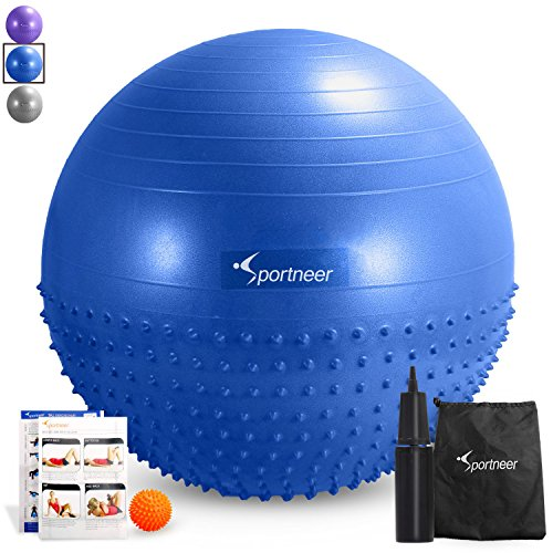Sportneer Excercise Ball Anti-burst Dual-sided Balance Yoga Ball with Pump, Massage Ball, Workout Guide and Carrying Bag, Blue, 65cm