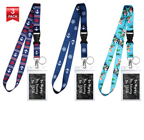 3-Pack Assorted Designs Lanyards with ID Holder & Key Ring for Keys, Cruise Ship Card, Teachers, Nurses. Waterproof Clear ID Badge Case. Essential Cruise Ship & Work Accessories. Nautical Collection D