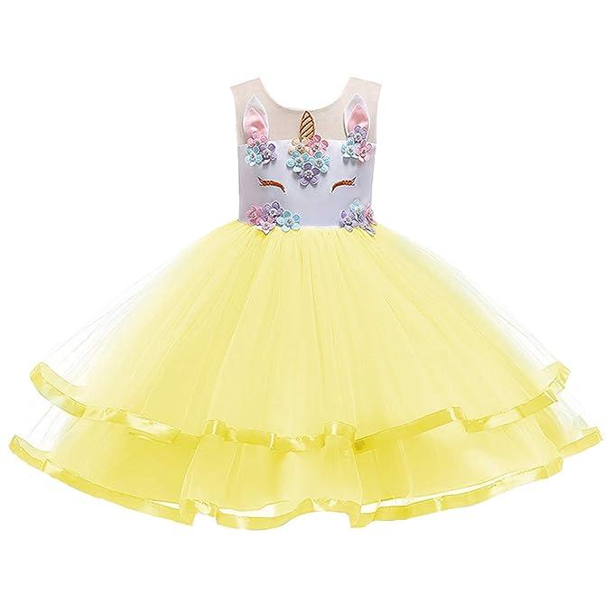 a733571a IBTOM CASTLE Disfraz de Princesa de Unicornio para niñas con Bordado  Floral, Vestido de Baile