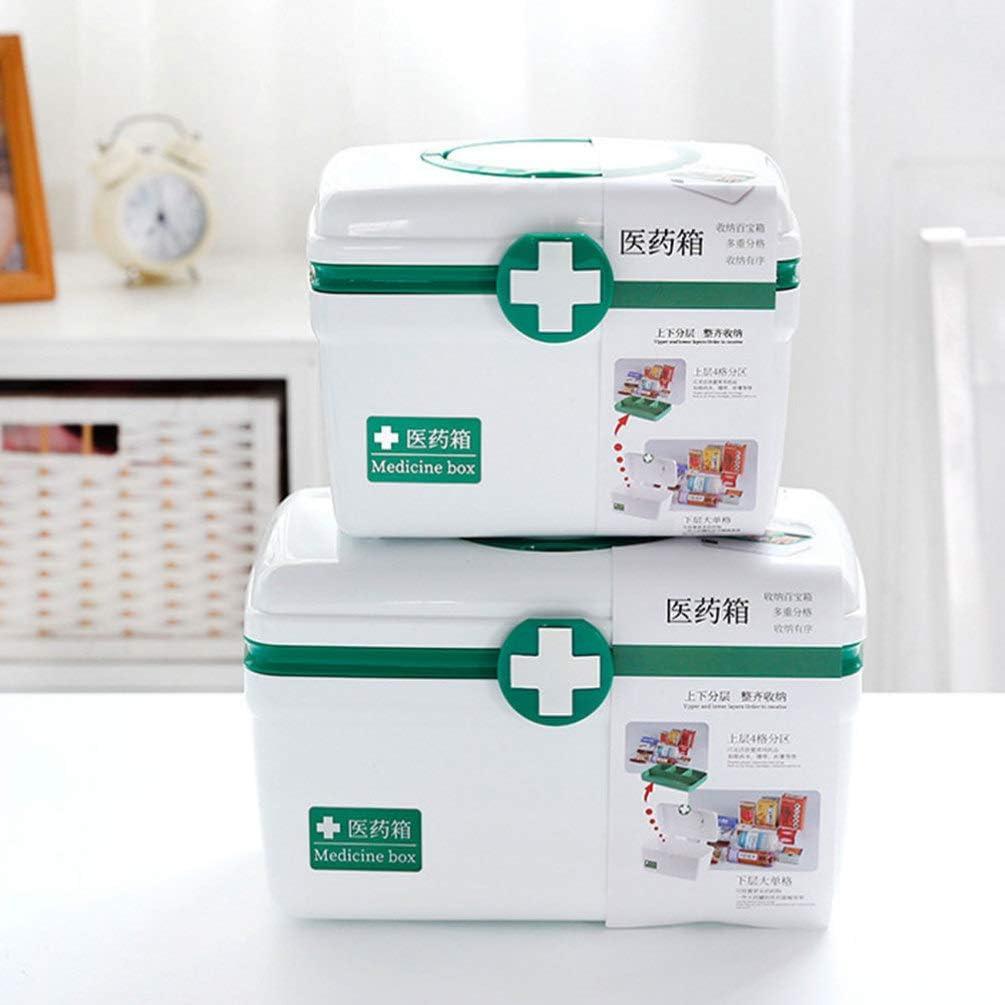 Verde Healifty Caja de Pl/ástico Vac/ía para Primeros Auxilios Caja de Almacenamiento de Medicamentos con Asa Y Compartimentos Kit de Emergencia Familiar Tama/ño L