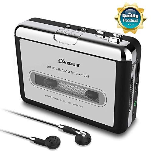 Cassette to MP3 Converter, USB Cassette Player Recorder to MP3 Converter Retro Walkman Audio PC Laptop Mac Headphones Software, Sliver