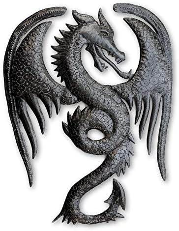 Dragon Wall Artwork, Metal Dragons, Gargoyles Sculptures, Fantasy World, Mythical Unique Wall Hanging, Gothic Wings, Handmade in Haiti 13 in. X 16.75 in.