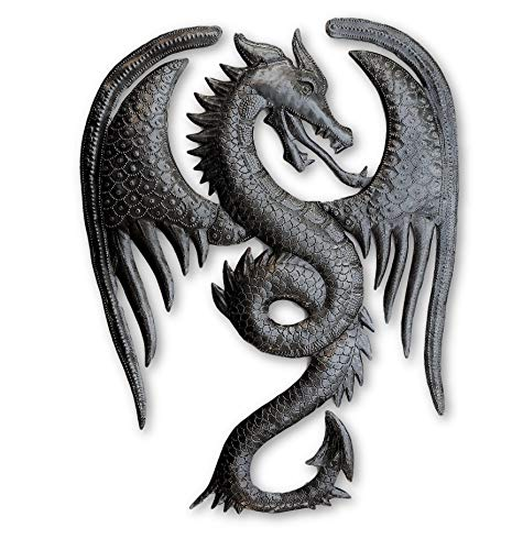 Dragon Wall Artwork, Metal Dragons, Gargoyles Sculptures, Fantasy World, Mythical Unique Wall Hanging, Gothic Wings, Handmade in Haiti 13