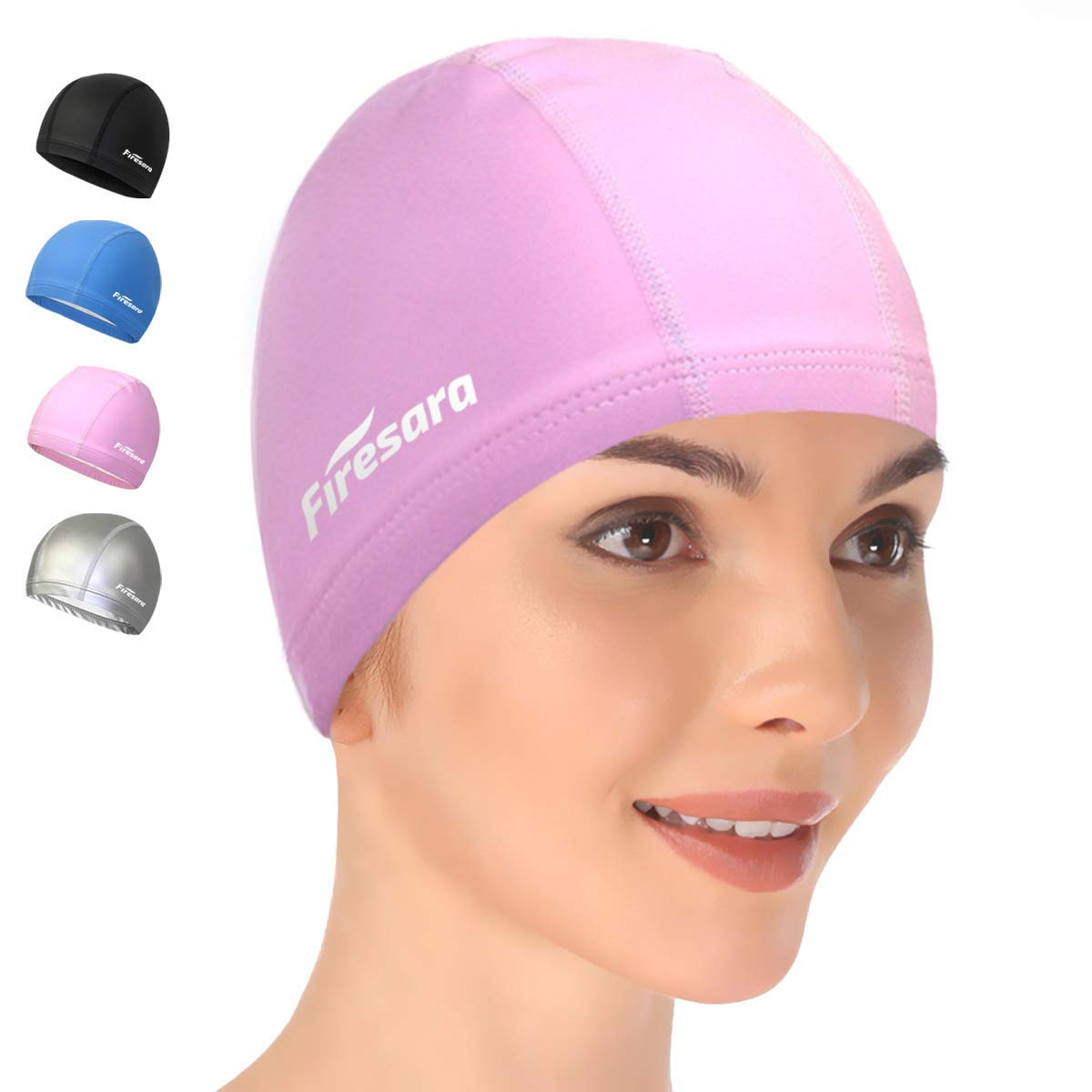 BOSUE SLLXG Swimming Cap 2 Pack Swim Caps Waterproof Unisex Premium Silicone No-Slip Swimming Hat for Adults Kids Woman and Men One Size Hat,Comfortable Fit for Long Hair and Short Hair