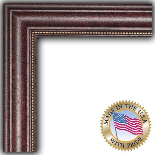 ArtToFrames 19x22 inch Cherry Stain with Gold Beads Wood Picture Frame, 2WOM7515-19x22