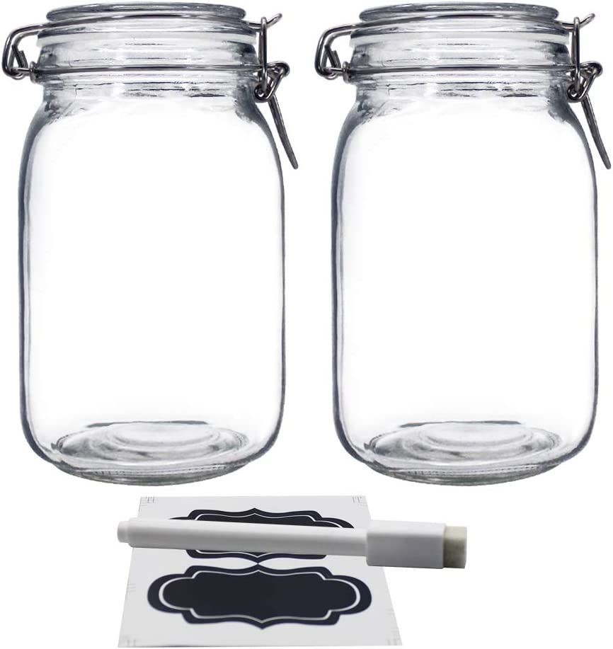 YEBODA 48oz Food Storage Canister Glass Jars with Clamp Airtight Lids and Silicone Gaskets for Multi-Purpose Kitchen Containers - Clear Square (2 Pack)