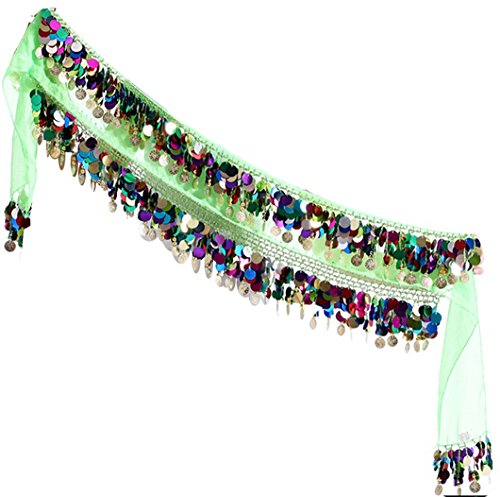 Astage Women`s Multi Color Sequins Coin Belly Dance Hip Scarf Green