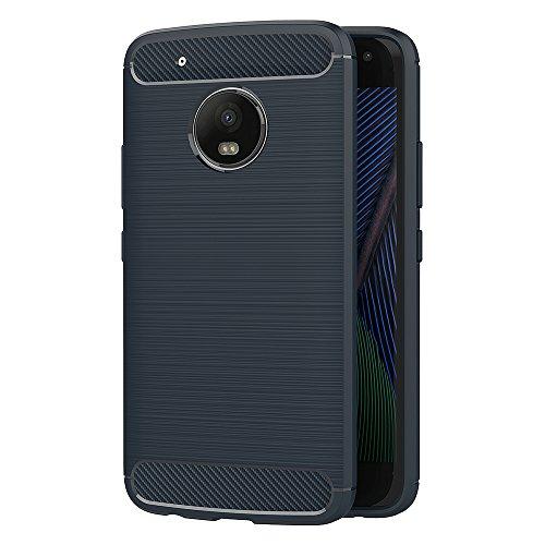 Funda Moto G5 Plus, AICEK Negro Silicona Fundas para Motorola Moto G5 Plus Carcasa Motorola G5 Plus Fibra de Carbono Funda Case (5,2 Pulgadas) Azul