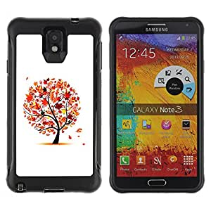 Hybrid Anti-Shock Defend Case for Samsung Galaxy Note 3 / Beautiful Autumn Tree Leaves