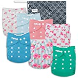 Peonies Baby Cloth Pocket Diapers 7 Pack, 7 Bamboo Inserts, 1 Wet Bag by Nora's Nursery