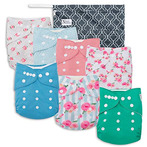 Organic Pocket Diapers - Peonies Baby Cloth Pocket Diapers 7 Pack, 7 Bamboo Inserts, 1 Wet Bag by Nora's Nursery