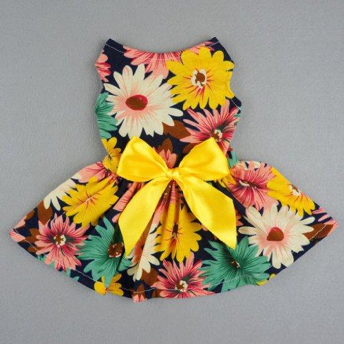 Fitwarm Pet Elegant Floral Ribbon Dog Dress Shirt Vest Sundress Clothes Apparel, Small