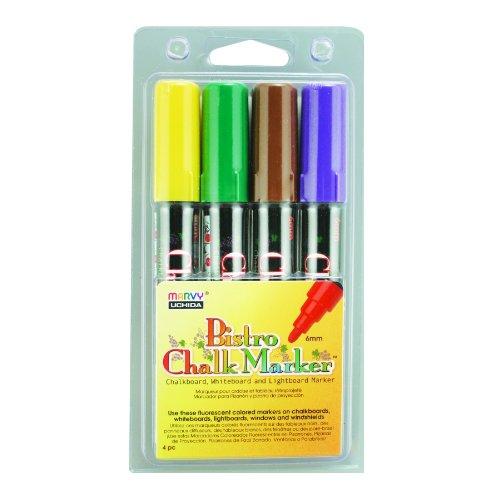 Uchida 480-4D Marvy Broad Point Tip Bright Bistro Chalk Marker Set